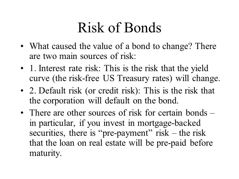 Risk of Bonds What caused the value of a bond to change.