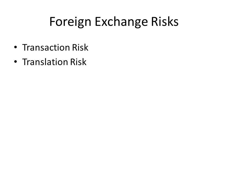 Foreign Exchange Risks Transaction Risk Translation Risk
