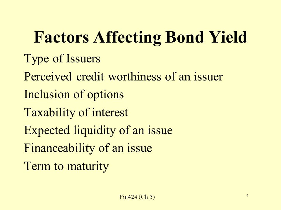 Fin424 (Ch 5) 5 Yield Curve The graphic depiction of the relationship between yields of maturity on bonds of the same credit quality but different maturity YTM of coupon bonds See three shapes on page 100