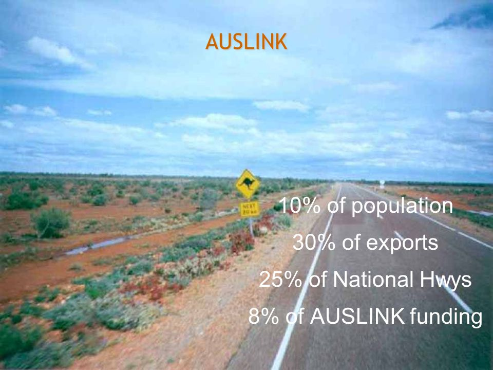 Department of Treasury and Finance Government of Western Australia AUSLINK 10% of population 30% of exports 25% of National Hwys 8% of AUSLINK funding