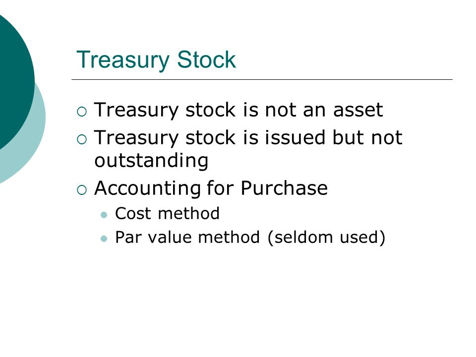 Treasury Stock  Treasury stock is not an asset  Treasury stock is issued but not outstanding  Accounting for Purchase Cost method Par value method