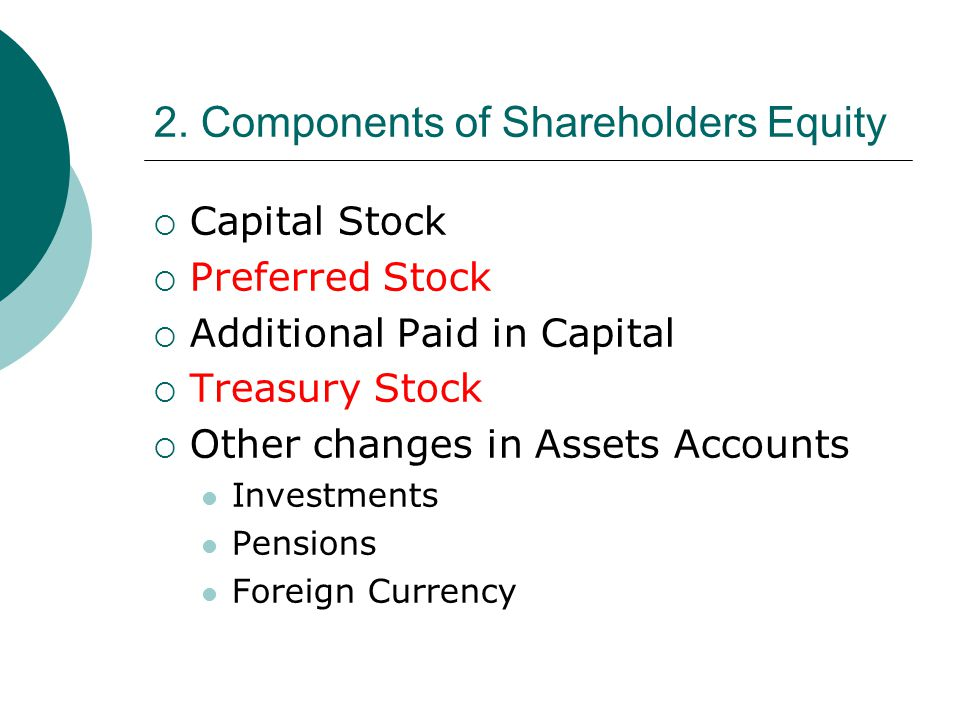 2. Components of Shareholders Equity  Capital Stock  Preferred Stock  Additional Paid in Capital  Treasury Stock  Other changes in Assets Account