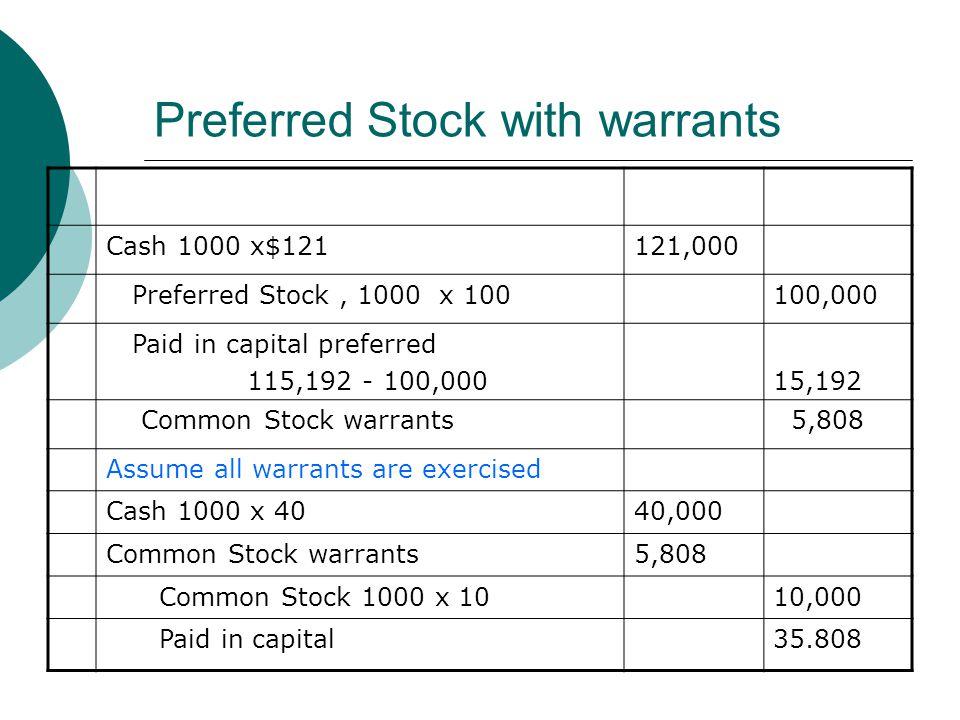 Preferred Stock with warrants Cash 1000 x$121121,000 Preferred Stock, 1000 x 100100,000 Paid in capital preferred 115,192 - 100,00015,192 Common Stock