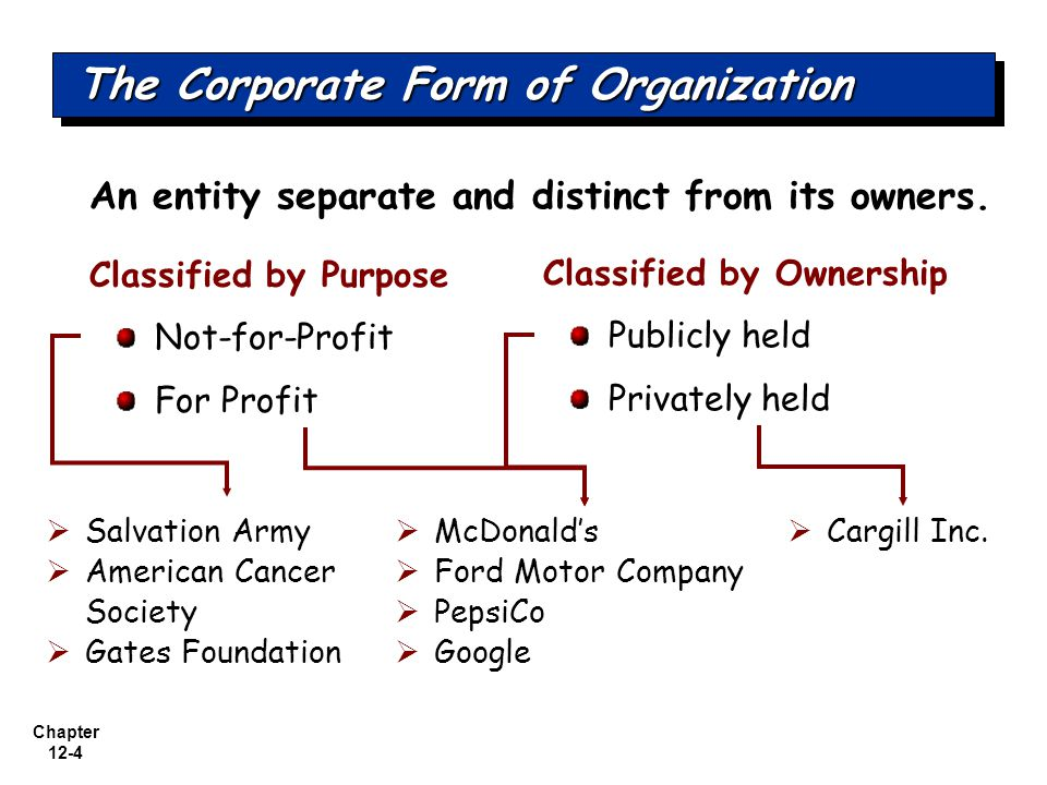 Chapter 12-4 An entity separate and distinct from its owners.
