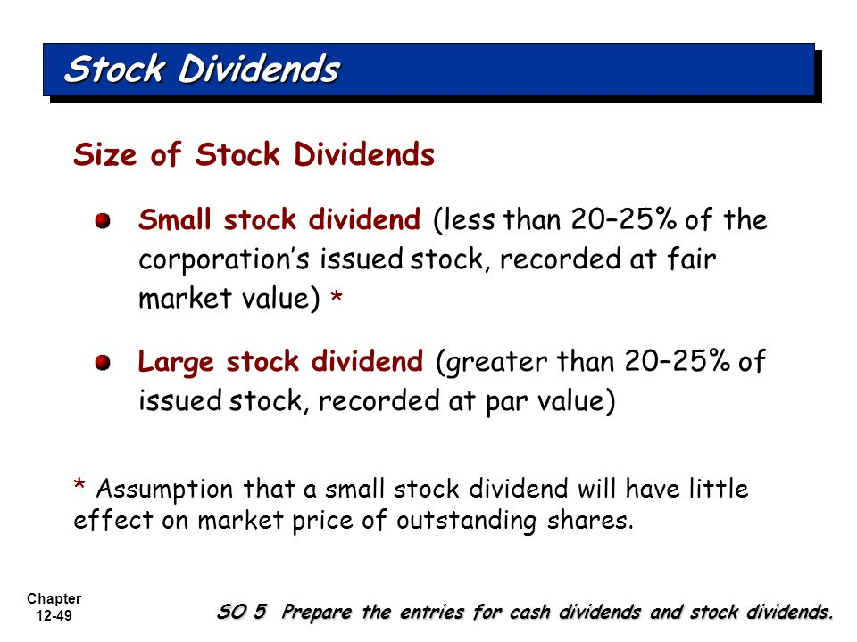 Chapter 12-49 Size of Stock Dividends Small stock dividend (less than 20–25% of the corporation's issued stock, recorded at fair market value) Large stock dividend (greater than 20–25% of issued stock, recorded at par value) * Assumption that a small stock dividend will have little effect on market price of outstanding shares.