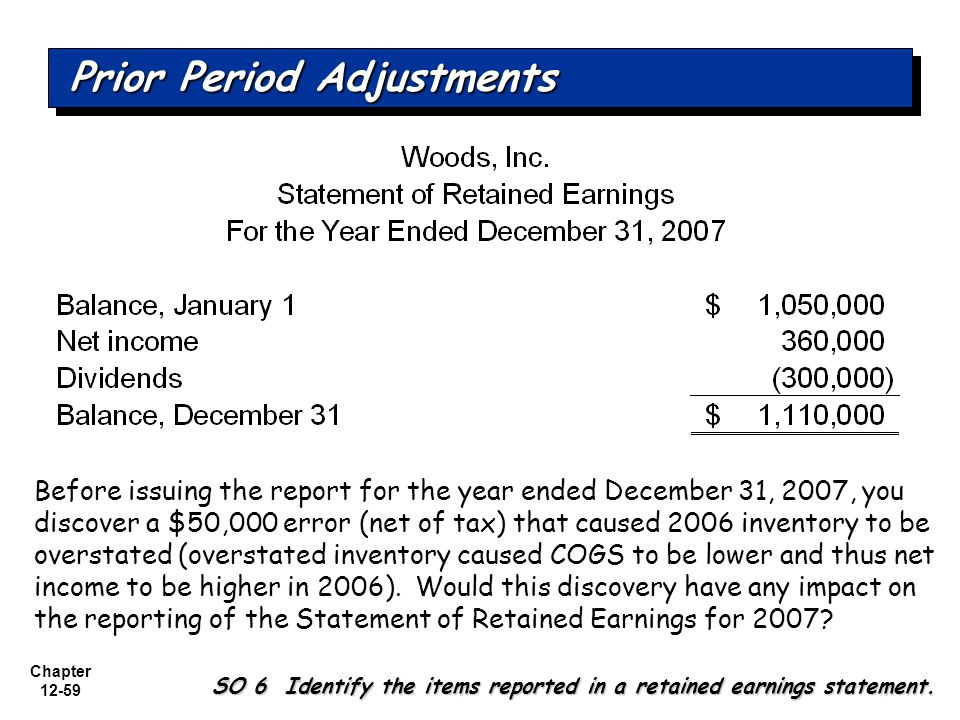 Chapter 12-59 Before issuing the report for the year ended December 31, 2007, you discover a $50,000 error (net of tax) that caused 2006 inventory to be overstated (overstated inventory caused COGS to be lower and thus net income to be higher in 2006).