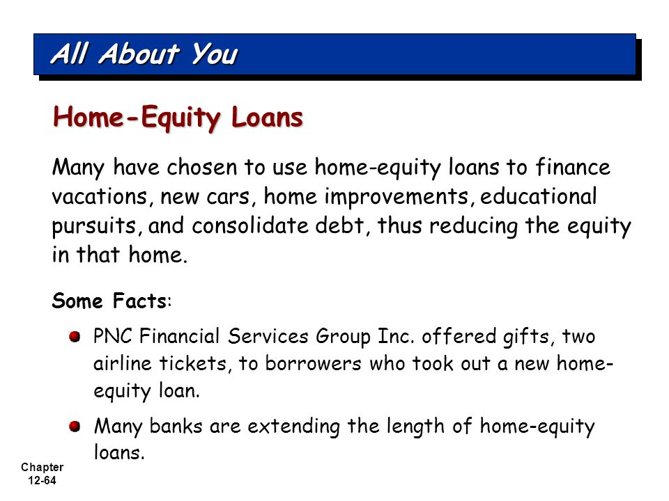 Chapter 12-64 Many have chosen to use home-equity loans to finance vacations, new cars, home improvements, educational pursuits, and consolidate debt, thus reducing the equity in that home.