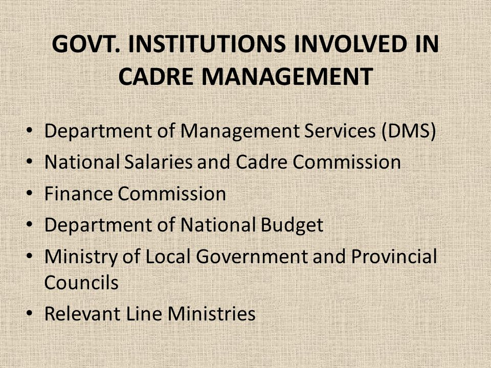 GOVT. INSTITUTIONS INVOLVED IN CADRE MANAGEMENT Department of Management Services (DMS) National Salaries and Cadre Commission Finance Commission Depa