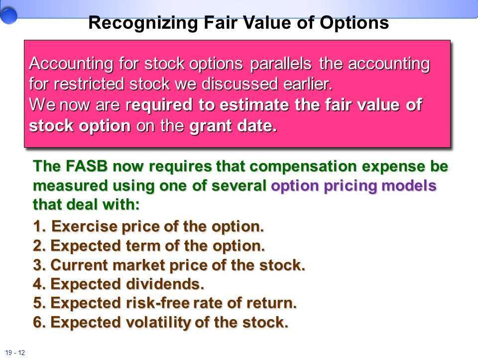 19 - 12 Recognizing Fair Value of Options Accounting for stock options parallels the accounting for restricted stock we discussed earlier.