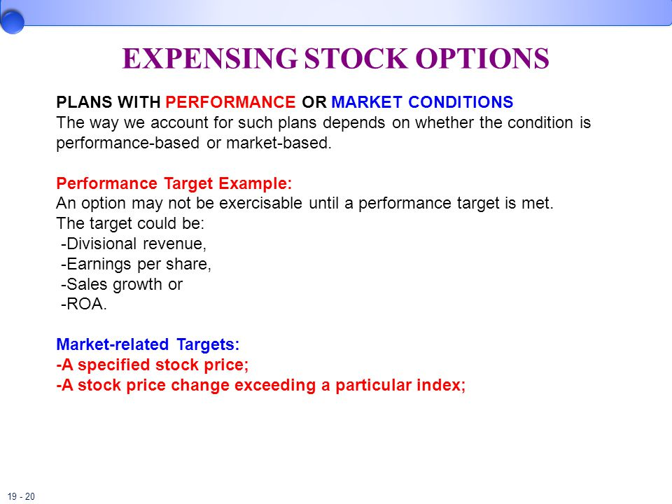 19 - 20 EXPENSING STOCK OPTIONS PLANS WITH PERFORMANCE OR MARKET CONDITIONS The way we account for such plans depends on whether the condition is performance-based or market-based.