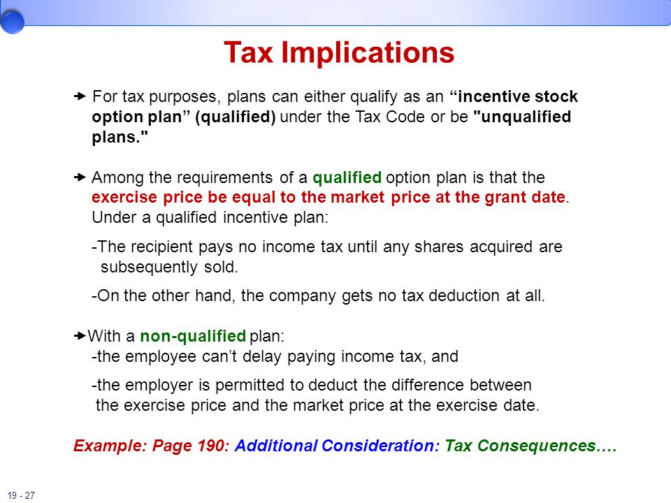 19 - 27 Tax Implications  For tax purposes, plans can either qualify as an incentive stock option plan (qualified) under the Tax Code or be unqualified plans.  Among the requirements of a qualified option plan is that the exercise price be equal to the market price at the grant date.