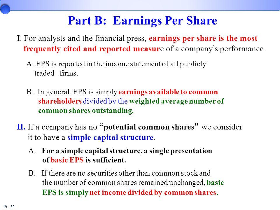 19 - 30 Part B: Earnings Per Share I.
