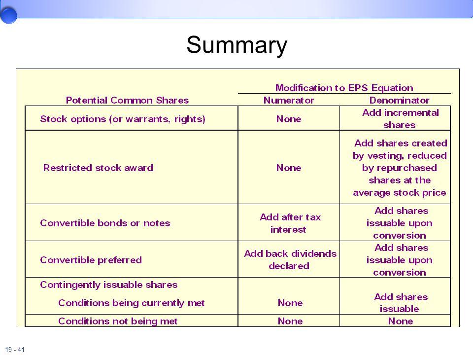 19 - 41 Summary