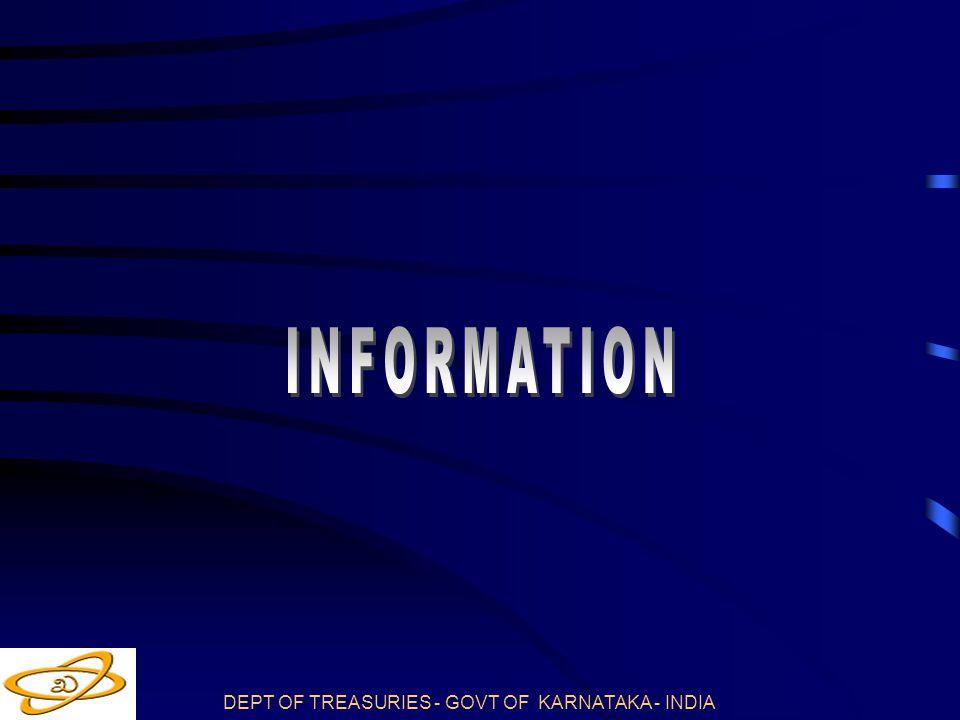DEPT OF TREASURIES - GOVT OF KARNATAKA - INDIA