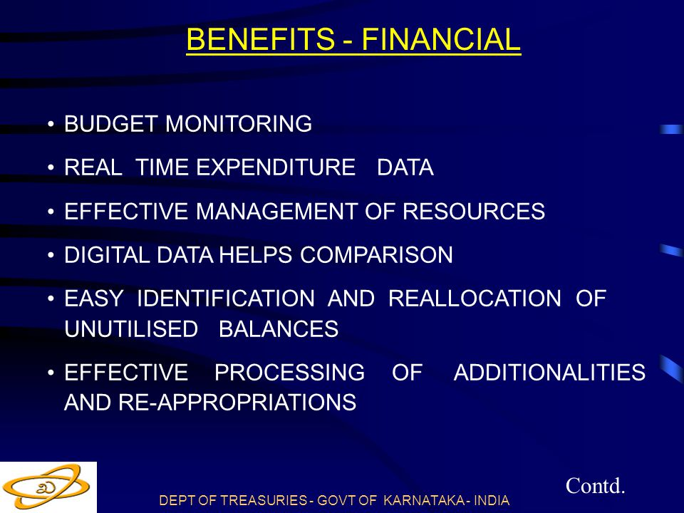 BUDGET MONITORING REAL TIME EXPENDITURE DATA EFFECTIVE MANAGEMENT OF RESOURCES DIGITAL DATA HELPS COMPARISON EASY IDENTIFICATION AND REALLOCATION OF UNUTILISED BALANCES EFFECTIVE PROCESSING OF ADDITIONALITIES AND RE-APPROPRIATIONS Contd.