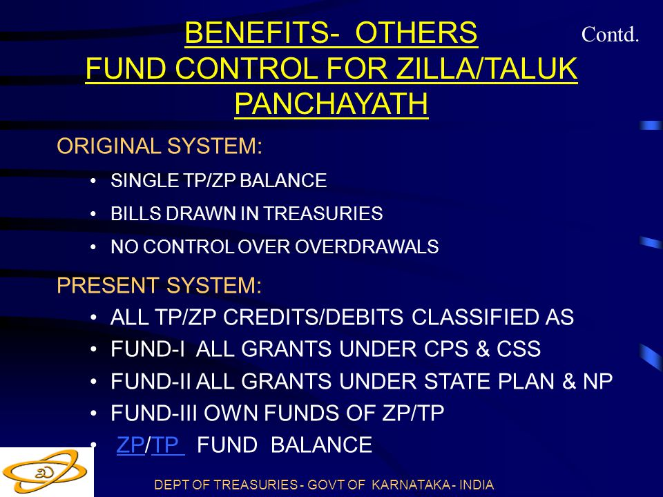 DEPT OF TREASURIES - GOVT OF KARNATAKA - INDIA BENEFITS- OTHERS FUND CONTROL FOR ZILLA/TALUK PANCHAYATH ORIGINAL SYSTEM: SINGLE TP/ZP BALANCE BILLS DRAWN IN TREASURIES NO CONTROL OVER OVERDRAWALS PRESENT SYSTEM: ALL TP/ZP CREDITS/DEBITS CLASSIFIED AS FUND-I ALL GRANTS UNDER CPS & CSS FUND-II ALL GRANTS UNDER STATE PLAN & NP FUND-III OWN FUNDS OF ZP/TP ZP/TP FUND BALANCEZPTP Contd.
