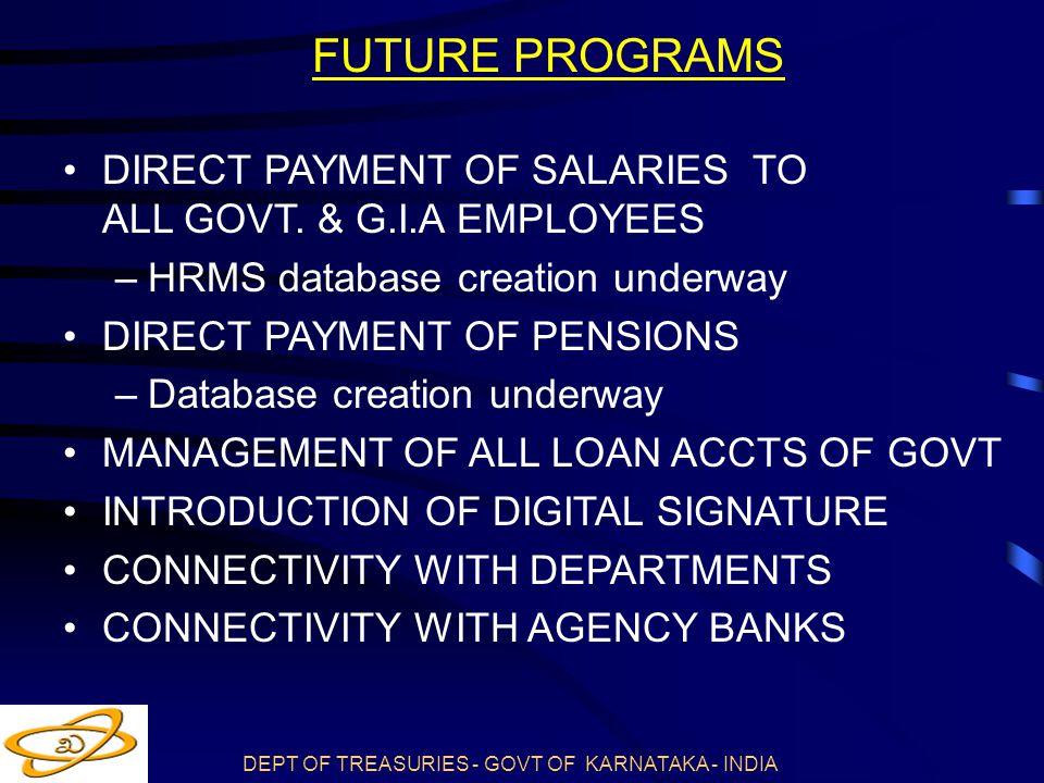 DEPT OF TREASURIES - GOVT OF KARNATAKA - INDIA DIRECT PAYMENT OF SALARIES TO ALL GOVT.