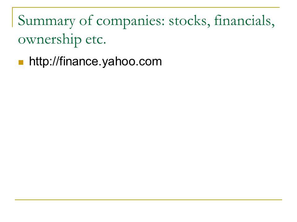 Summary of companies: stocks, financials, ownership etc. http://finance.yahoo.com
