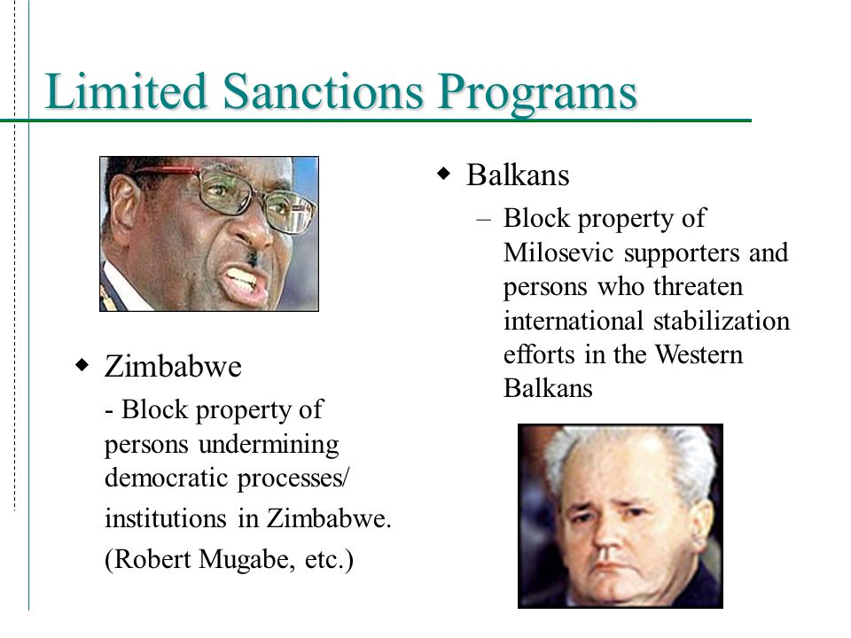  Zimbabwe - Block property of persons undermining democratic processes/ institutions in Zimbabwe.