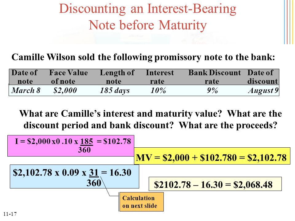 11-17 Discounting an Interest-Bearing Note before Maturity Camille Wilson sold the following promissory note to the bank: Date of Face ValueLength of