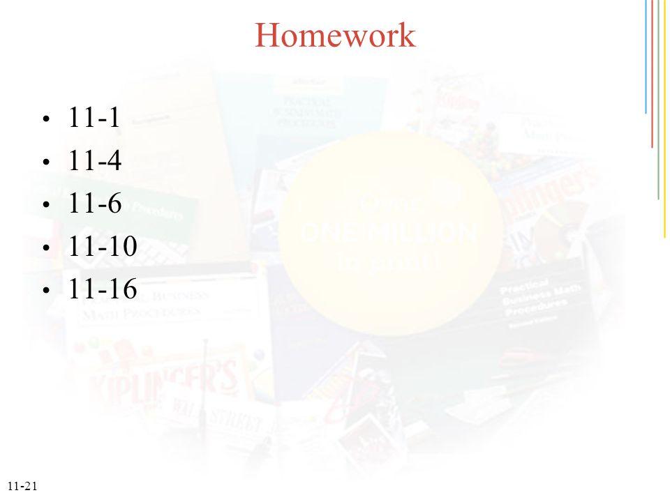 11-21 Homework 11-1 11-4 11-6 11-10 11-16
