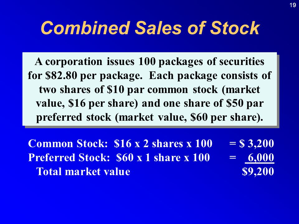 19 Combined Sales of Stock Common Stock: $16 x 2 shares x 100= $ 3,200 Preferred Stock: $60 x 1 share x 100= 6,000 Total market value$9,200 A corporation issues 100 packages of securities for $82.80 per package.