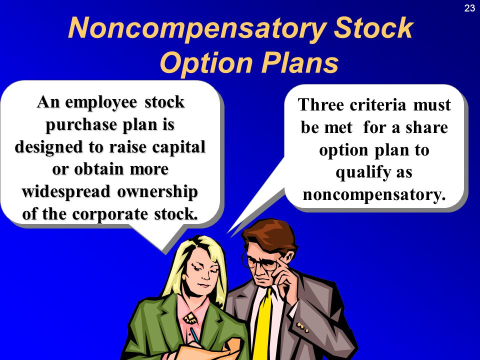 23 Noncompensatory Stock Option Plans Three criteria must be met for a share option plan to qualify as noncompensatory.