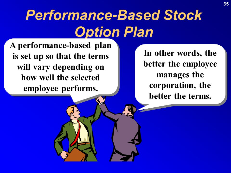 35 Performance-Based Stock Option Plan A performance-based plan is set up so that the terms will vary depending on how well the selected employee performs.