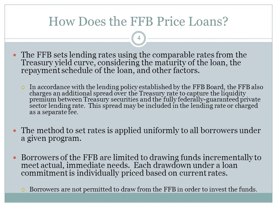 FFB Pricing Criteria - Existing Properties 5 FFB financing of the Risk Sharing program is a bridge allowing HFAs to access capital at efficient rates until the statutory prohibition on the use of Ginnie Mae securitization in the Risk Sharing program is eliminated.