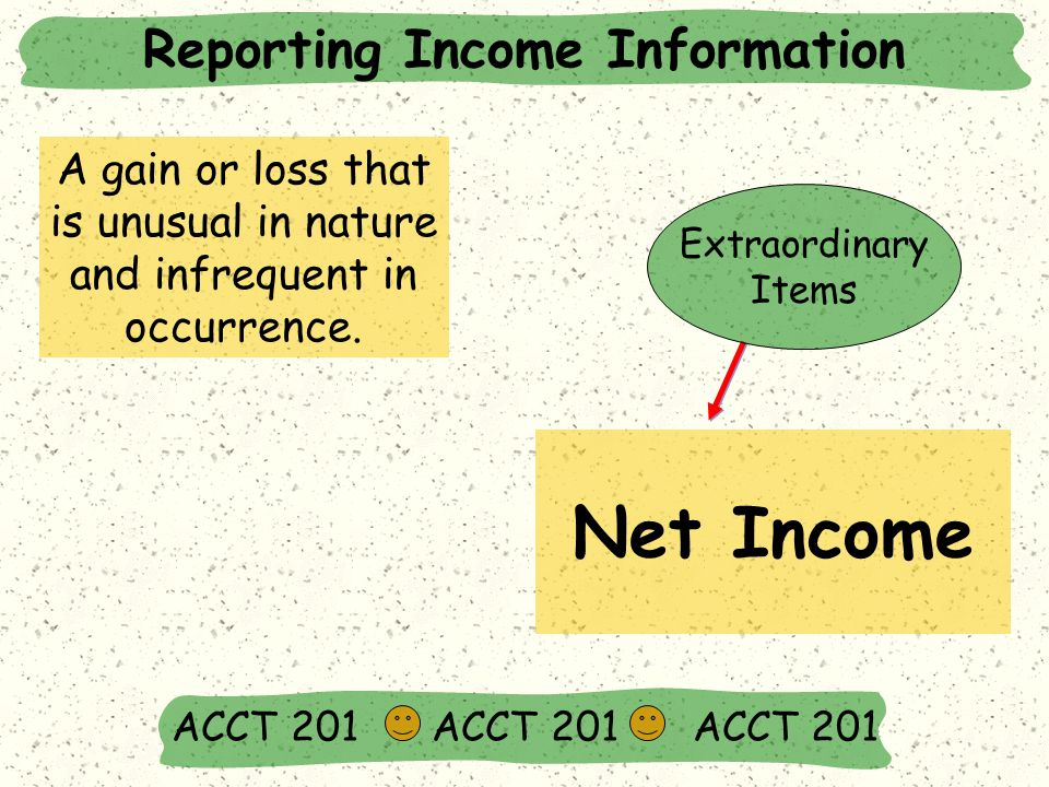 Reporting Income Information ACCT 201 ACCT 201 ACCT 201 Net Income A gain or loss that is unusual in nature and infrequent in occurrence.