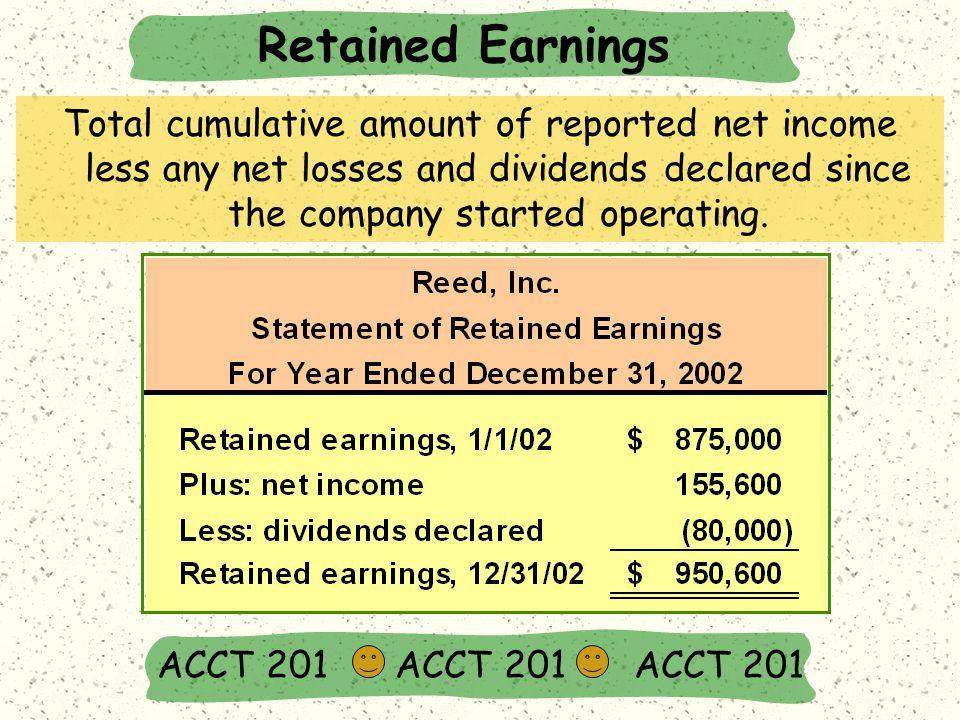 Retained Earnings ACCT 201 ACCT 201 ACCT 201 Total cumulative amount of reported net income less any net losses and dividends declared since the company started operating.