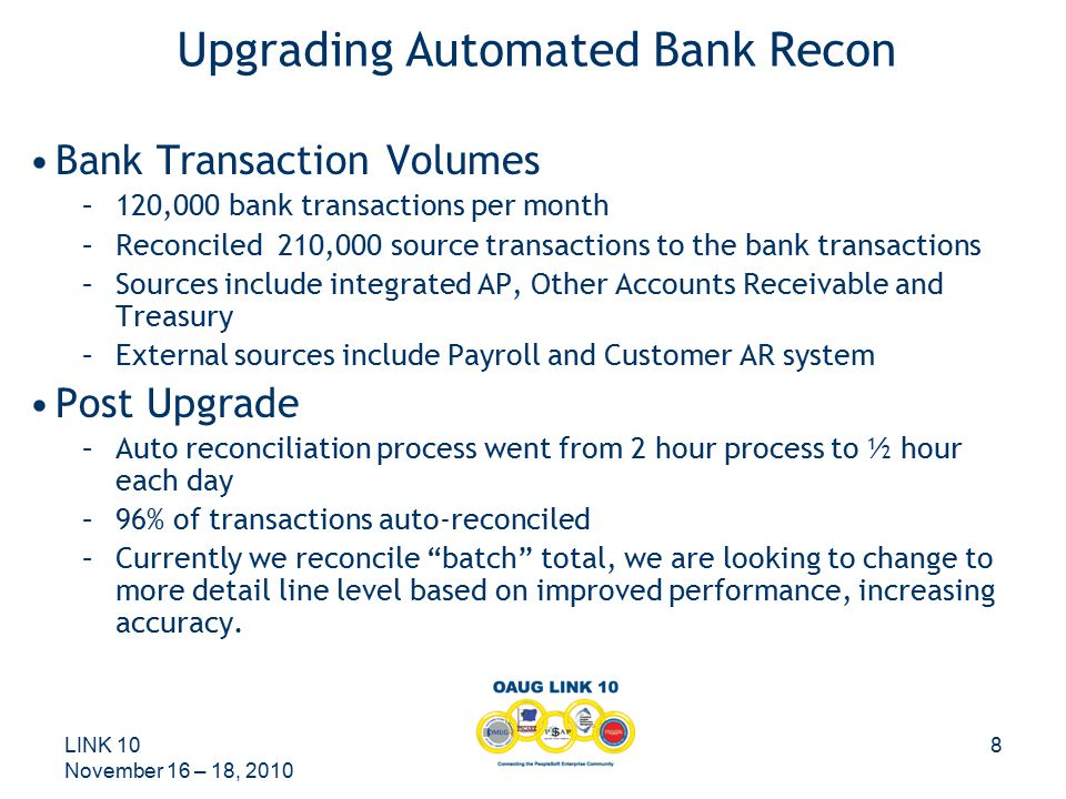 LINK 10 November 16 – 18, 2010 9 Bank Reconciliation Customizations –We reduced customizations.