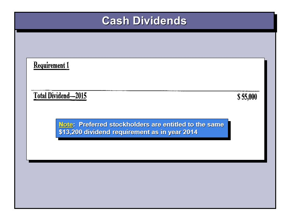 Note: Preferred stockholders are entitled to the same $13,200 dividend requirement as in year 2014