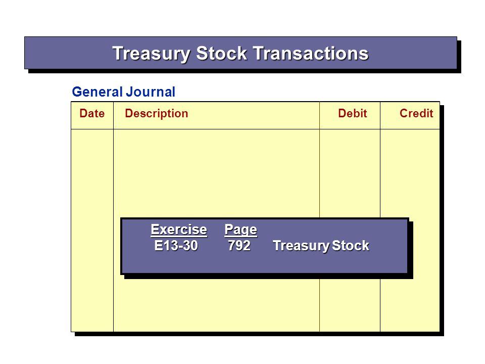 DateDescriptionDebitCredit General Journal Exercise Page E13-30 792 Treasury Stock E13-30 792 Treasury Stock Exercise Page E13-30 792 Treasury Stock E