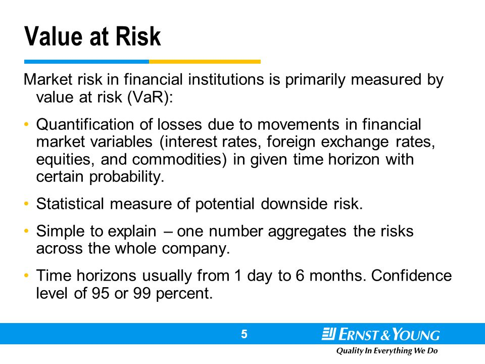 # !@ # 5 Value at Risk Market risk in financial institutions is primarily measured by value at risk (VaR): Quantification of losses due to movements i