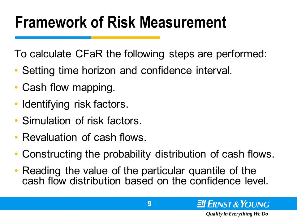 # !@ # 9 Framework of Risk Measurement To calculate CFaR the following steps are performed: Setting time horizon and confidence interval. Cash flow ma