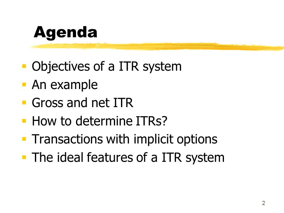 13 Net ITR We obtain different margins for the different branches depending on the ITR (1, 2 or 3 year maturity) we choose If 1 year ITR  branch A, having funded a 3 year asset (150,000 euro) with a 1 year liability, is exposed to an increase in interest rates Branch B, having used part of its 1 year liabilities to fund a 3 year loan (50,000 euro), is exposed to a reduction of interest rates The interest rate risk is still within the branches