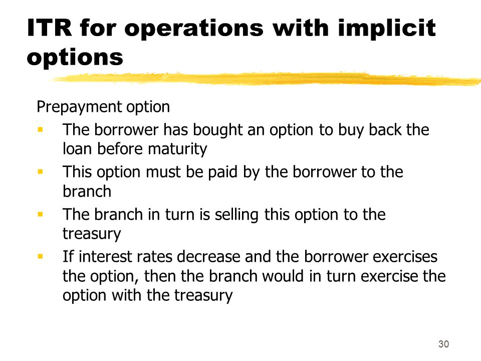 30 ITR for operations with implicit options Prepayment option  The borrower has bought an option to buy back the loan before maturity  This option must be paid by the borrower to the branch  The branch in turn is selling this option to the treasury  If interest rates decrease and the borrower exercises the option, then the branch would in turn exercise the option with the treasury
