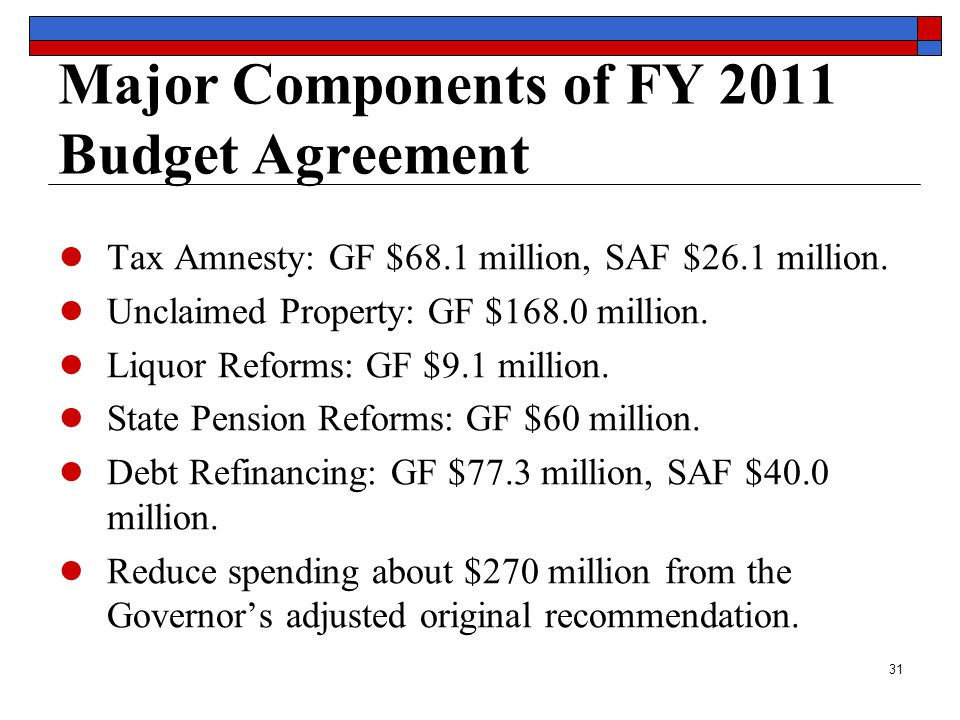 31 Major Components of FY 2011 Budget Agreement ● Tax Amnesty: GF $68.1 million, SAF $26.1 million.