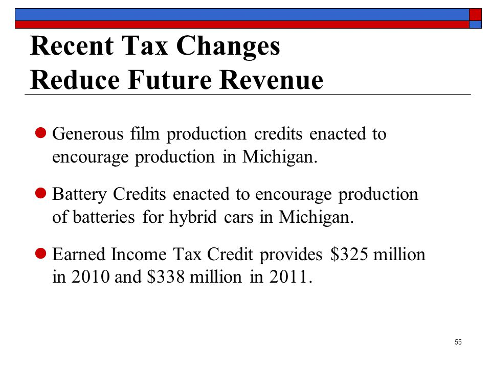 55 Recent Tax Changes Reduce Future Revenue Generous film production credits enacted to encourage production in Michigan.