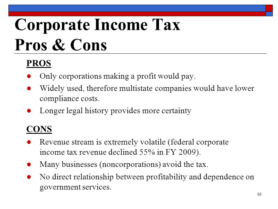60 Corporate Income Tax Pros & Cons PROS ●Only corporations making a profit would pay.