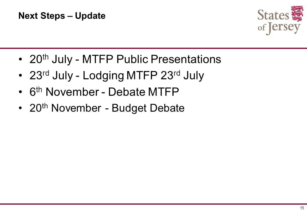 15 Next Steps – Update 20 th July - MTFP Public Presentations 23 rd July - Lodging MTFP 23 rd July 6 th November - Debate MTFP 20 th November - Budget