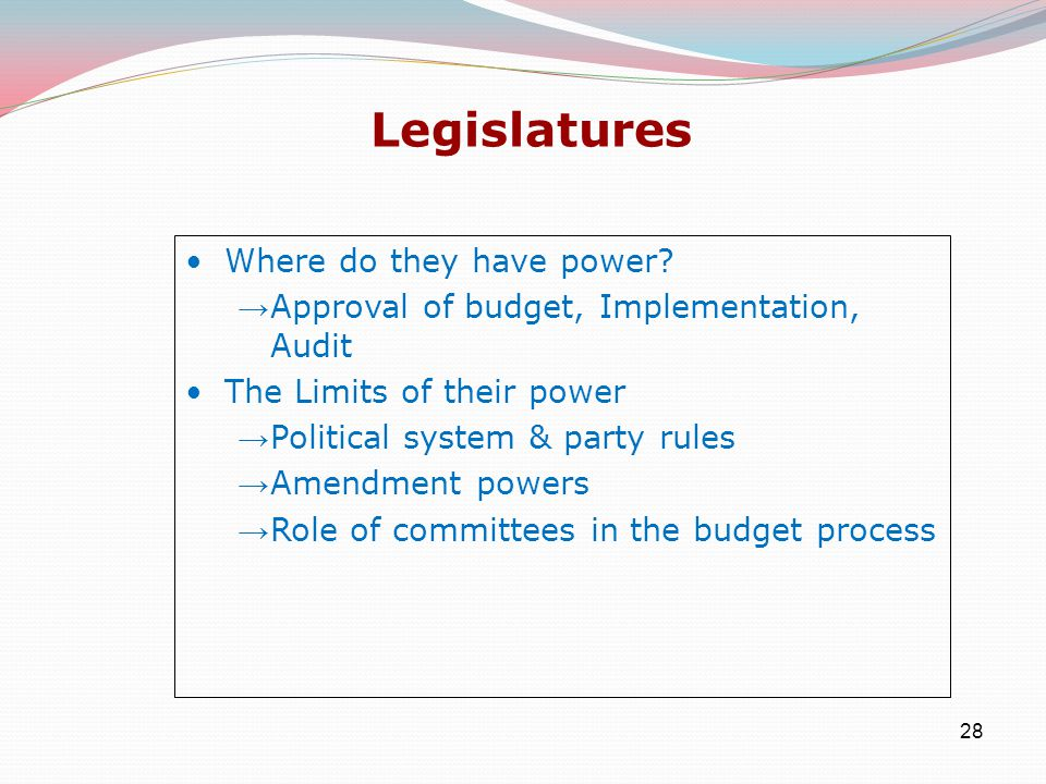 28 Legislatures Where do they have power.