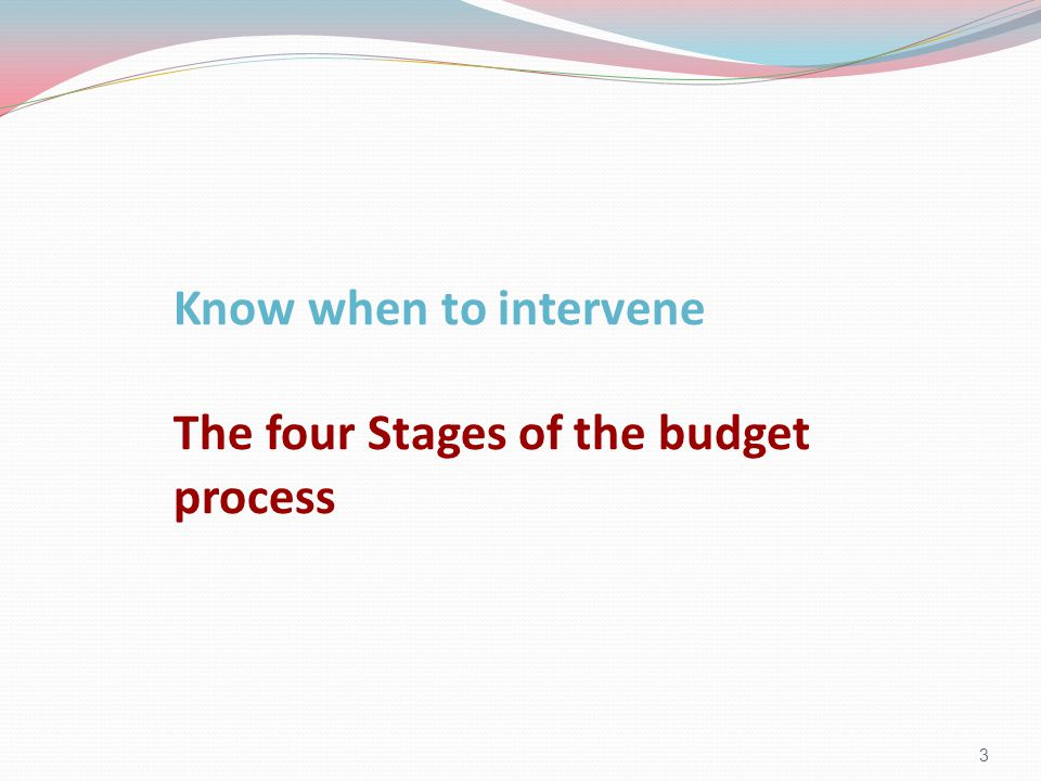 4 Key points: - Different decisions are made at each stage of the budget process - You should intervene before the decisions you want to change are being made, not after.