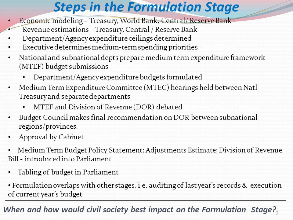 10 Budget formulation decisions follow a sequence: DecisionWho decides.