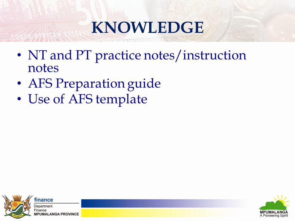 KNOWLEDGE NT and PT practice notes/instruction notes AFS Preparation guide Use of AFS template