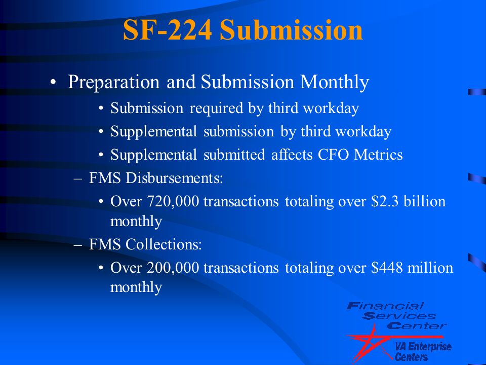 SF-224 Submission Preparation and Submission Monthly Submission required by third workday Supplemental submission by third workday Supplemental submit