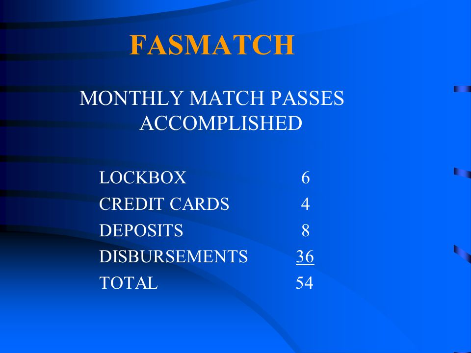 FASMATCH MONTHLY MATCH PASSES ACCOMPLISHED LOCKBOX 6 CREDIT CARDS 4 DEPOSITS 8 DISBURSEMENTS 36 TOTAL 54