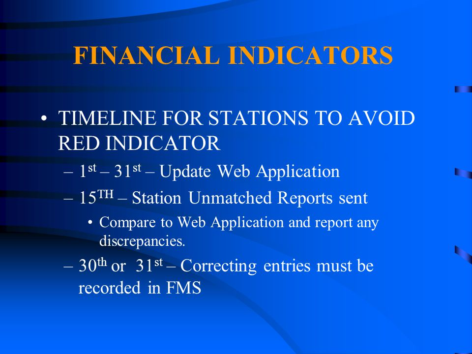 FINANCIAL INDICATORS TIMELINE FOR STATIONS TO AVOID RED INDICATOR –1 st – 31 st – Update Web Application –15 TH – Station Unmatched Reports sent Compa