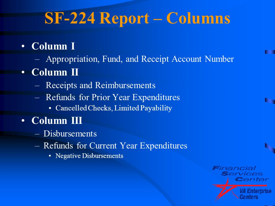 SF-224 Report – Columns Column I – Appropriation, Fund, and Receipt Account Number Column II – Receipts and Reimbursements – Refunds for Prior Year Ex